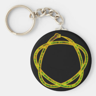 Ouroboros pentagram key ring