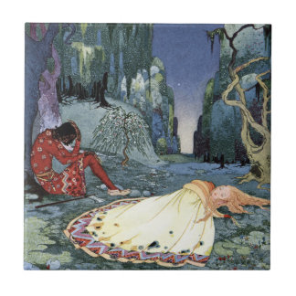 Ourson and Violette by Virginia Frances Sterrett Small Square Tile
