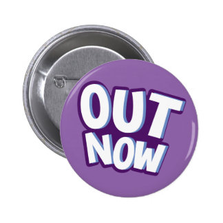 Out now call to action callout cartoon 6 cm round badge