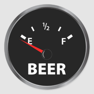 Out of Beer Fuel Gauge Classic Round Sticker