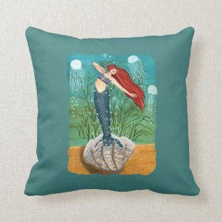 Out of Her Shell - Mermaid Art Pillow