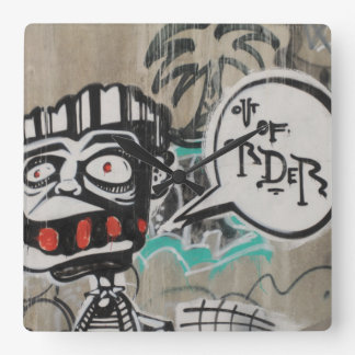 Out Of Order Graffiti Square Wall Clock