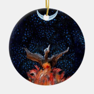 Out of the Flames: Phoenix Rising Round Ceramic Decoration
