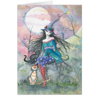 Out of the Ordinary Halloween Witch and Cats Card