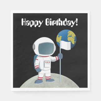 Out Of This World Astronaut Happy Birthday Party Paper Serviettes