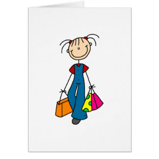 Out Shopping Stick Figure Card