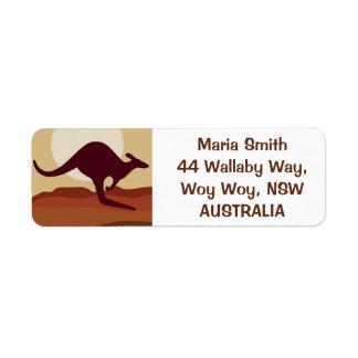 Outback kangaroo return address label