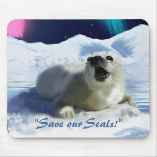 """OUTCRY"" Harp Seal Anti Seal-Hunt Mouse Pad"