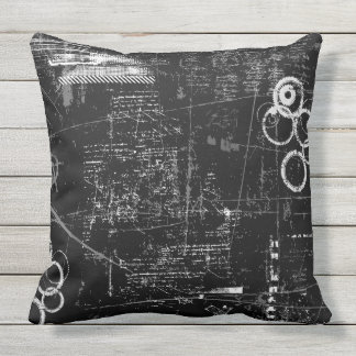 "Outdoor Black and White Grunge Pillow 20"" x 20"""