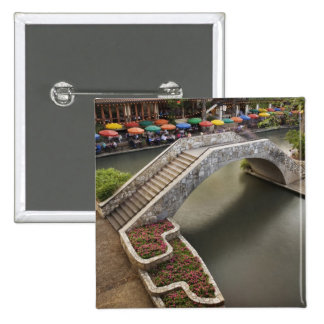 Outdoor cafe along River Walk and bridge over 15 Cm Square Badge