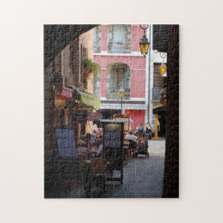 Outdoor Cafés, Restaurants in Quaint French Town Jigsaw Puzzle