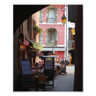 Outdoor Cafés, Restaurants in Quaint French Town Photo Print