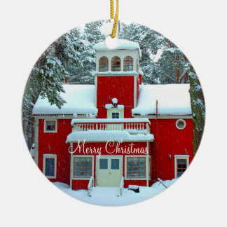 Outdoor Christmas Ornaments With Snowy Church