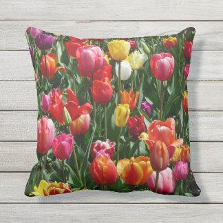 Outdoor cushion pretty tulips flower decor pillow