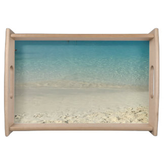 Outdoor Dining Fun Aqua Teal Waters Beach Serving Tray