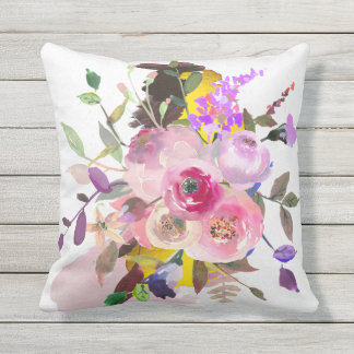 Outdoor floral throw pillow, grey reverse side outdoor cushion
