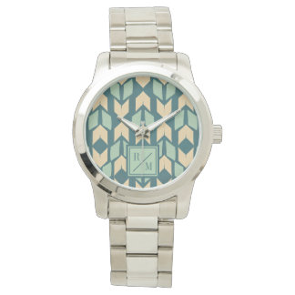 Outdoor Geo Step | Geometric Teal Arrow Pattern Watch