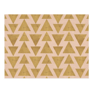 Outdoor Geo Step | Gold & Coral Geometric Pattern Postcard