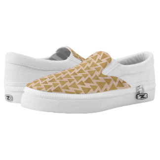 Outdoor Geo Step | Gold & Coral Geometric Pattern Slip On Shoes