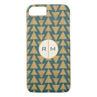 Outdoor Geo Step | Gold & Dark Teal Pattern iPhone 8/7 Case
