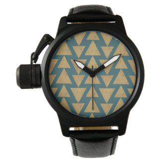 Outdoor Geo Step | Gold & Dark Teal Pattern Watch