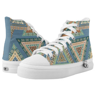 Outdoor Geo X | Blue Tribal Indian Pattern High Tops