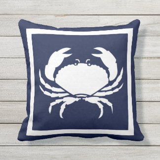 Outdoor Nautical CRAB white navy reversable Cushion