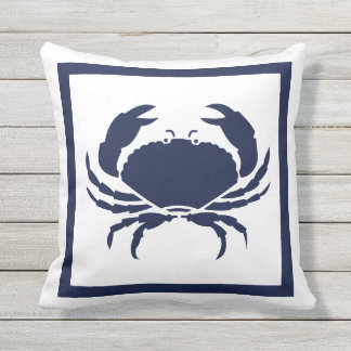 Outdoor Nautical CRAB white navy reversable Outdoor Cushion