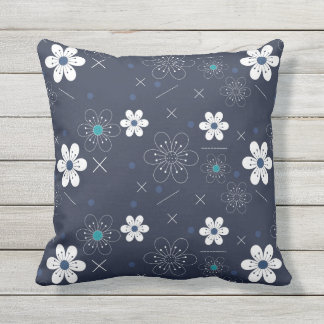 Outdoor patio cushion Blue white flowers