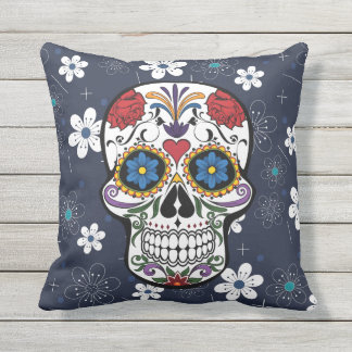 Outdoor patio cushion Blue white flowers skull