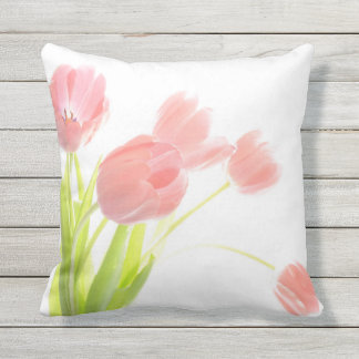 Outdoor patio cushion pink tulip flower