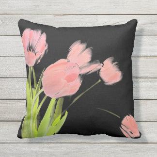 Outdoor patio cushion pink tulip flower