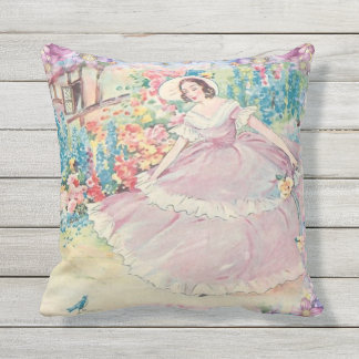 Outdoor patio cushion vintage flower lady