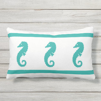 Outdoor peacock blue and white  SEAHORSE Lumbar Cushion