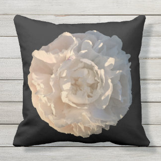 Outdoor Pillow Peony on black background