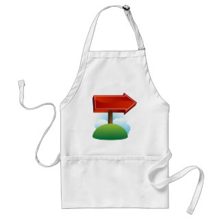 Outdoor Red Directional Arrow Sign Standard Apron