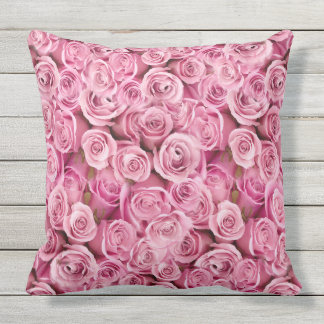 Outdoor Safe Feminine Pink Roses Floral Pattern Outdoor Cushion