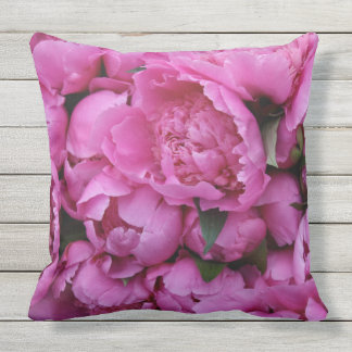 Outdoor Safe Pink Peony Flower Floral Pattern Outdoor Cushion