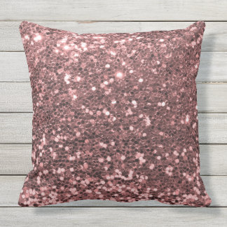 Outdoor Safe Rose Gold Glitter Outdoor Cushion