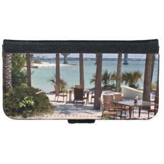 Outdoor tables and chairs at resort iPhone 6 wallet case