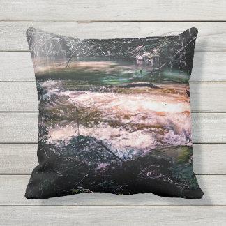 Outdoor throw pillow, flowing creek outdoor cushion