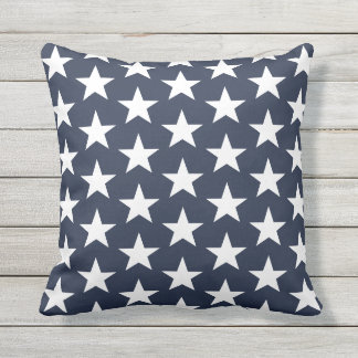 Outdoor Throw Pillow-Patriotic Stars Outdoor Cushion
