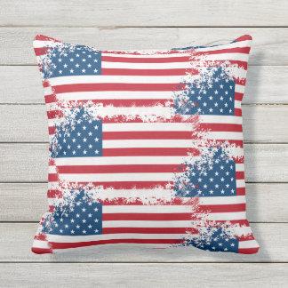 Outdoor Throw Pillow-Patriotic USA Flag Cushion