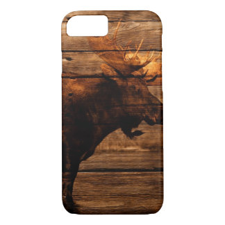 outdoorsman distressed wood wildlife bull moose iPhone 8/7 case
