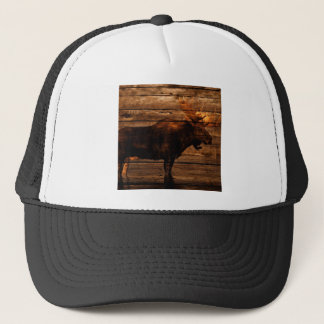outdoorsman distressed wood wildlife bull moose trucker hat