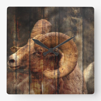 outdoorsmen Primitive woodgrain mountain ram Square Wall Clock