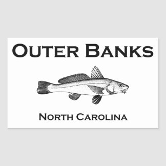 Outer Banks North Carolina Surf Fishing Rectangular Sticker