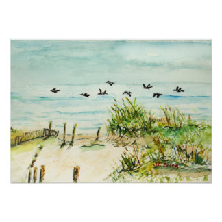 Outer Banks Sand Dunes and Seagulls Posters