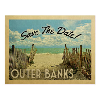 Outer Banks Save The Date Vintage Beach Nautical Postcard