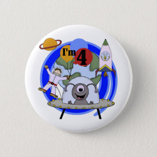 Outer Space 4th Birthday Tshirts and Gifts 6 Cm Round Badge
